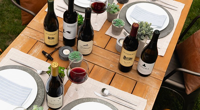 Duckhorn Portfolio wines an outdoors table