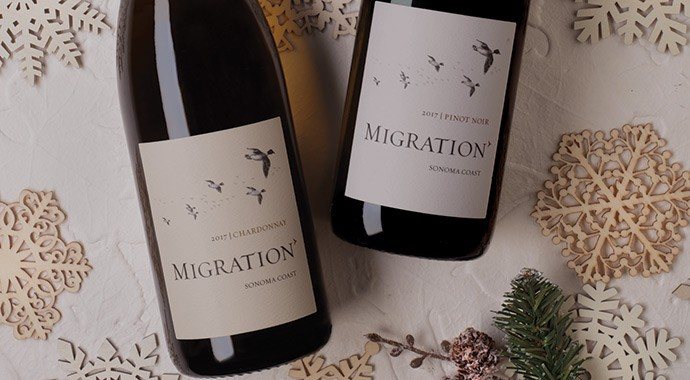 Migrations wines with christmas holiday decorations
