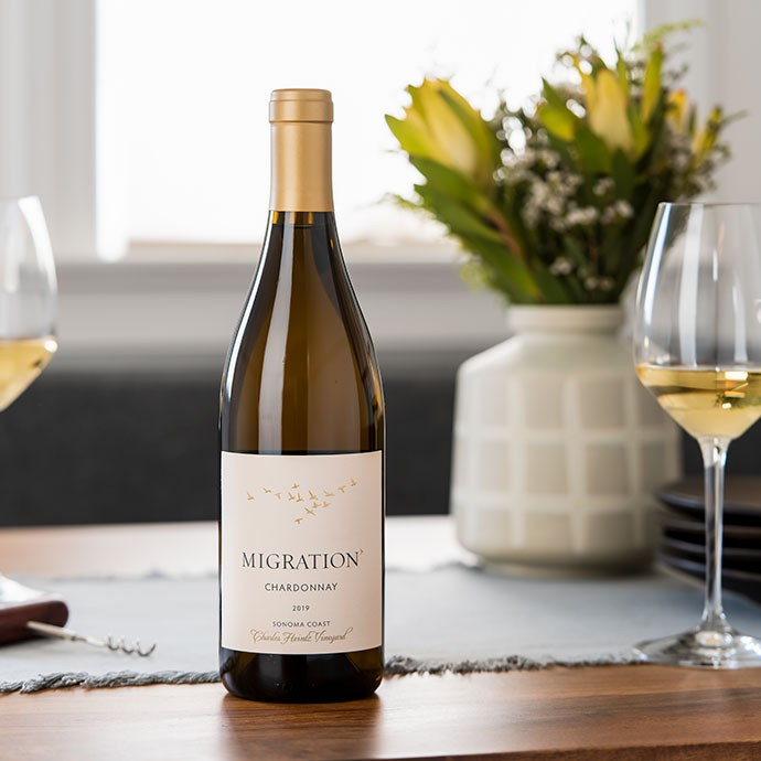Migration Chardonnay on a table