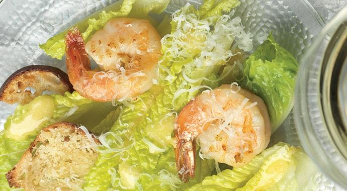 Caesar Salad with Shrimp and Sourdough Croutons recipe
