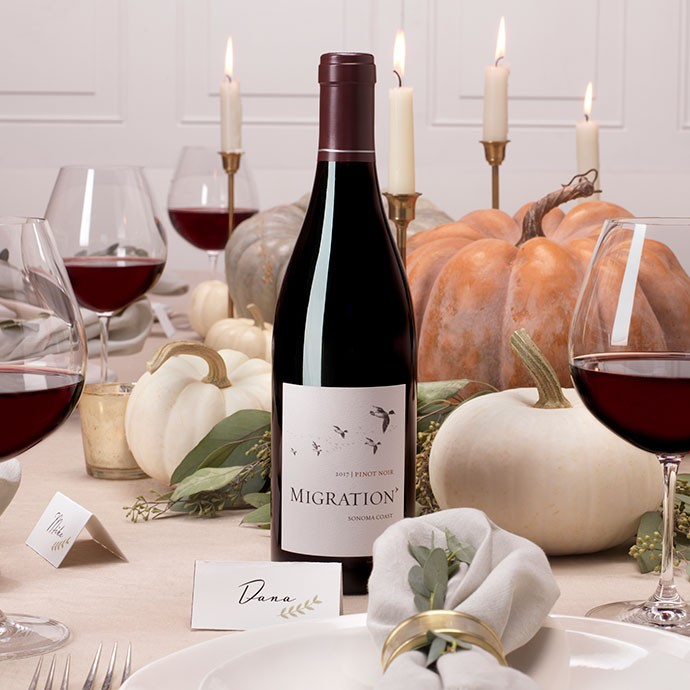 Migration Pinot Noir on a Holiday table