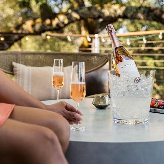 Migration Brut Rosé Sparkling Wine on a table