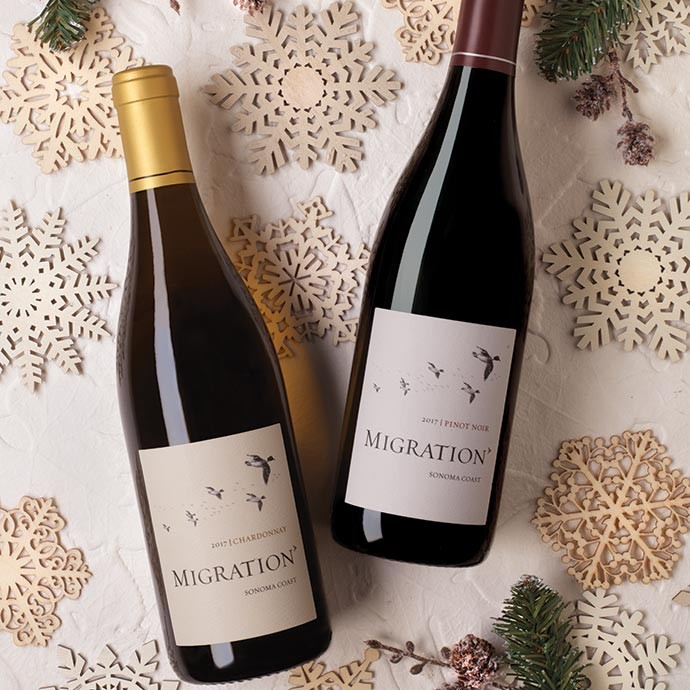 Migration Pinot Noir and Chardonnay with snowflakes